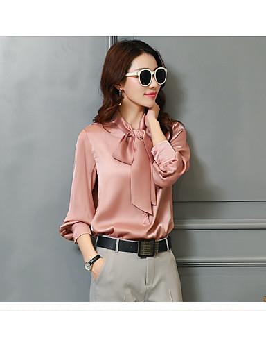 Damen Solide Chinoiserie Ausgehen Hemd,Hemdkragen Polyester