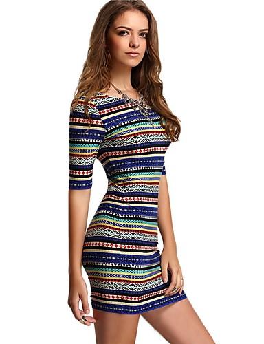 Mulheres Calças - Listrado Estampado Azul Real / Mini / Para Noite / Skinny