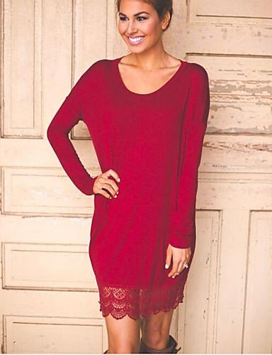 Damen Solide / Geometrisch - Freizeit Baumwolle Hemd