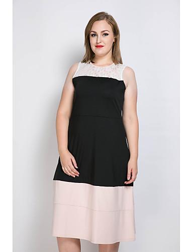 Damen Übergrössen Hülle Spitze Schwarz und Weiss Kleid - Spitze, Einfarbig Patchwork
