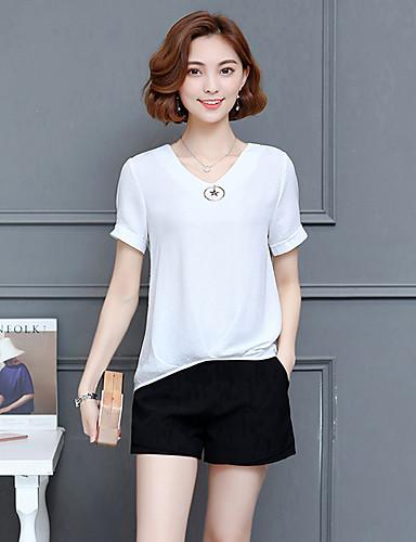 Damen Solide Einfach Bluse,V-Ausschnitt Sommer Kurzarm Polyester Mittel