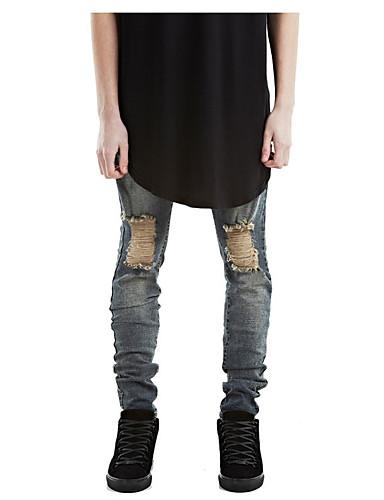 Herren Aktiv Mittlere Hüfthöhe Unelastisch Schlank Skinny Hose,Reine Farbe Jeansstoff einfarbig