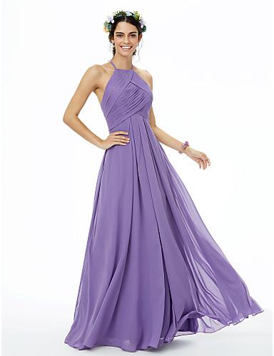 A-الخط جوهرة طول الأرض شيفون فستان الاشبينة مع طيات متصالب بواسطة LAN TING BRIDE®