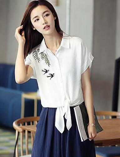 Damen Druck Einfach Lässig/Alltäglich Hemd,Hemdkragen Sommer Kurzarm Baumwolle Dünn