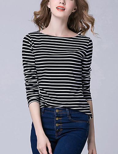 Damen Gestreift Freizeit Street Schick Hemd,Rundhalsausschnitt Langarm Polyester