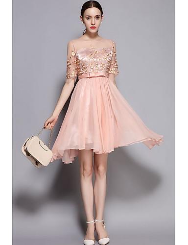 Damen Swing Kleid Niedlich Stickerei Rundhalsausschnitt Übers Knie Polyester-Taft Frühling Sommer Mittlere Hüfthöhe Mikro-elastisch Dünn
