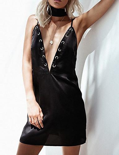 Mulheres Festa / Diário / Bandagem Moda de Rua Bainha Vestido - Frente Única / Fashion, Sólido Com Alças Cintura Alta Mini / Primavera