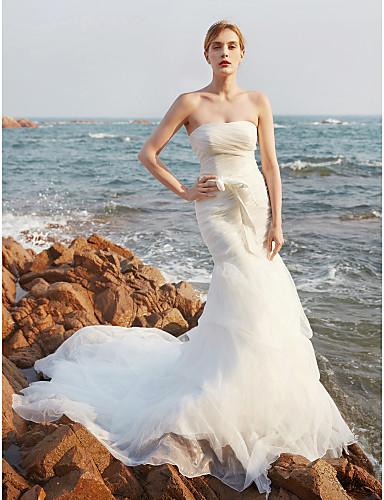 Sereia Sem Alças Cauda Corte Organza Vestidos de noiva personalizados com Laço / Saia com Pregas em Cascata / Drapeado Lateral / Franzido