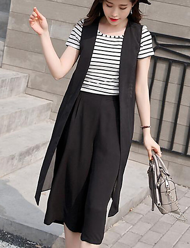 Women's Work Going out Bolster T-shirt - Solid Colored Striped Pant
