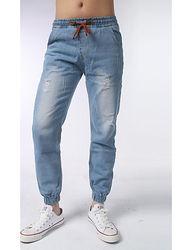 Herren Einfach Mittlere Hüfthöhe Mikro-elastisch Jogginghose Schlank Hose,Jeansstoff einfarbig