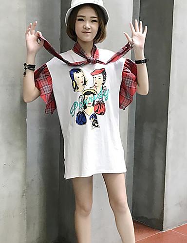 Damen Druck Patchwork Einfach Niedlich Lässig/Alltäglich T-shirt,Rundhalsausschnitt Frühling Sommer Kurzarm Baumwolle Dünn