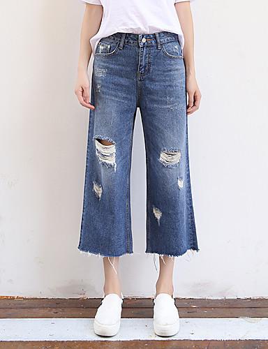 Damen Einfach Hohe Hüfthöhe Mikro-elastisch Lose Jeans Hose Frühjahr, Herbst, Winter, Sommer