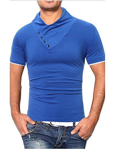 Herrn Einfarbig T-shirt Baumwolle