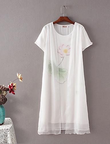 Damen Lose Etuikleid Kleid-Ausgehen Lässig/Alltäglich Einfach Street Schick Druck Rundhalsausschnitt Midi Kurzarm Seide Baumwolle Sommer