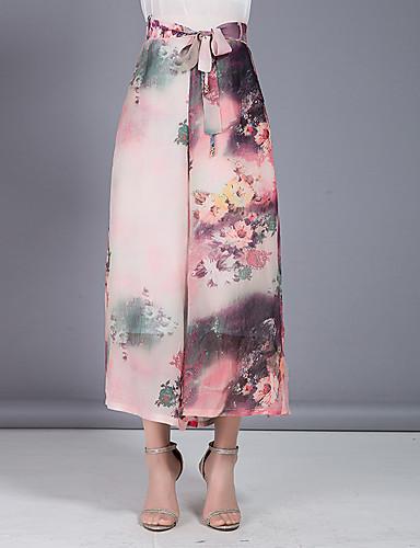 Damen Übergrössen Hohe Hüfthöhe Breites Bein Chinos Hose - Mehrschichtig Blumig Druck Chiffon