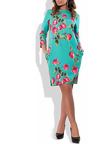 Damen Hülle Kleid-Ausgehen Party/Cocktail Übergröße Retro Blumen Rundhalsausschnitt Knielang Langarm Baumwolle Polyester SommerHohe