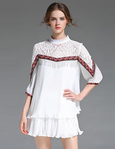 Damen Lose Kleid-Ausgehen Strand Festtage Niedlich Freizeit Anspruchsvoll Einfarbig Stickerei Ständer Mini Polyester Sommer Mittlere