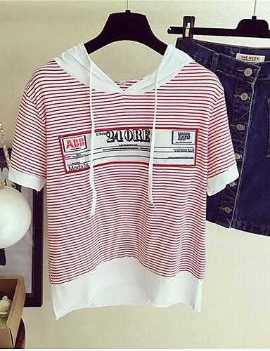 Damen Baumwolle T-shirt Druck / mit feinen Streifen