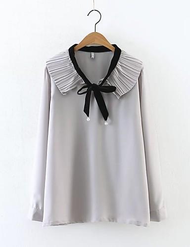 Dámské Jednobarevné Sexy Jednoduché Šik ven Košile-Léto Bavlna Do V Dlouhý rukáv Střední Tenké