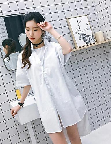 Damen Solide Street Schick Ausgehen Hemd,Hemdkragen Kurzarm Baumwolle