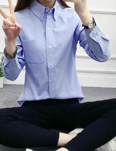 Damen Solide Niedlich Ausgehen Lässig/Alltäglich Hemd,Hemdkragen Alle Saisons Langarm Baumwolle Mittel