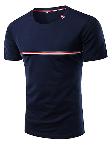 Herren Gestreift Einfach Ausgehen Lässig/Alltäglich Übergröße T-shirt,Rundhalsausschnitt Frühling Kurzarm Polyester/Baumwollmischung