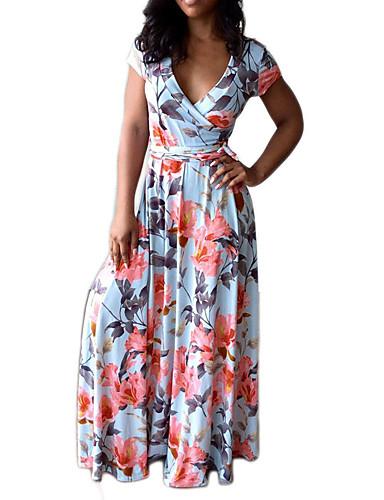 Mulheres Boho Bainha Vestido - Pregueado / Retro, Floral Decote V Cintura Alta Longo / Primavera / Verão / Padrões florais