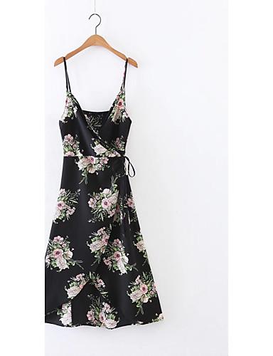 Damen Lose Etuikleid Kleid-Ausgehen Lässig/Alltäglich Einfach Street Schick Blumen Gurt Midi Ärmellos Seide Baumwolle Sommer Herbst