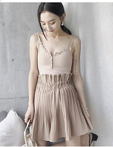 Damen Lässig/Alltäglich Knielänge Röcke einfarbig Sommer