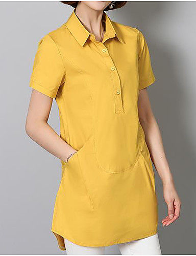 Damen Solide - Chinoiserie Hemd, Hemdkragen Baumwolle