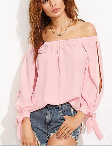 Mulheres Camiseta - Praia Sólido Algodão Sem Alças / Primavera / Outono