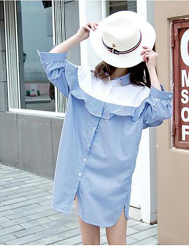 Damen Einfarbig Einfach Lässig/Alltäglich Hemd,Ständer ¾-Arm Baumwolle