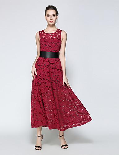 Damen Hülle Spitze Swing Kleid-Party Retro Anspruchsvoll Solide Rundhalsausschnitt Maxi Ärmellos Polyester Frühling Sommer Hohe Hüfthöhe