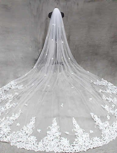 Einschichtig Schnittkante Hochzeitsschleier Kathedralen Schleier Mit Applikationen Tüll