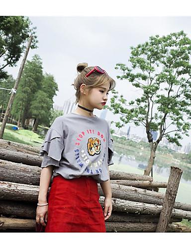 Damen Solide Tierfell-Druck Buchstabe Einfach Lässig/Alltäglich T-shirt,Rundhalsausschnitt Kurzarm Baumwolle