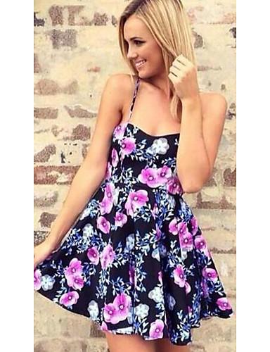 Damen Hülle Kleid - Spitze Rückenfrei Ausgehöhlt, Blumen Mini Gurt