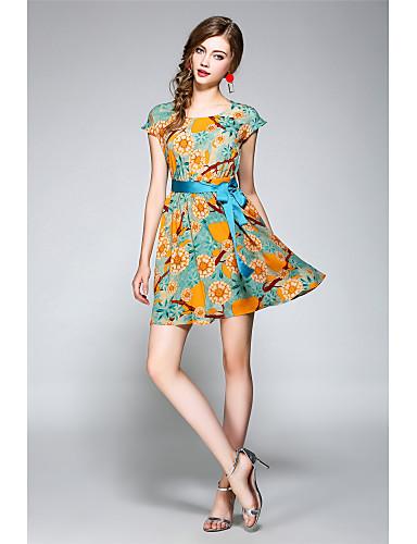 Damen Party Ausgehen Festtage Niedlich Anspruchsvoll Street Schick A-Linie Chiffon Übers Knie Kleid, Rückenfrei Blumen Rundhalsausschnitt