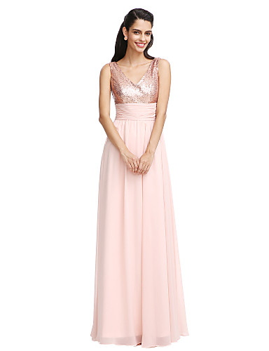 b7e0227bdb Sheath / Column V Neck Floor Length Chiffon Bridesmaid Dress with Sequin /  Bow(s) / Sash / Ribbon by LAN TING BRIDE® / Sparkle & Shine