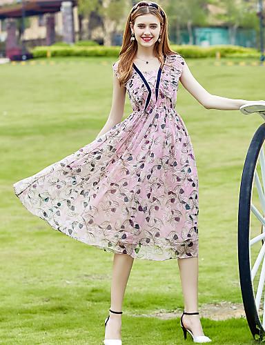 Mulheres Fofo Casual Sofisticado Evasê Chifon balanço Vestido - Fashion Chifon Estampado, Floral Decote V Médio