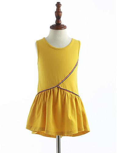 Dívka je Bavlna Jednobarevné Léto Šaty, Bez rukávů Volánky Žlutá