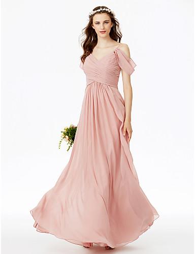8747adf52141 Linea-A Con bretelline Lungo Chiffon Vestito da damigella con A pieghe   Con  ruche   A incrocio di LAN TING BRIDE®