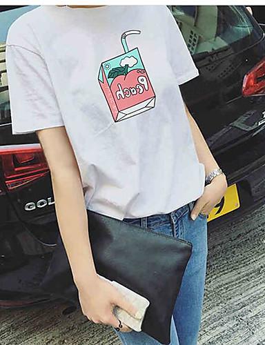 Damen Solide Druck Einfach Lässig/Alltäglich T-shirt,Rundhalsausschnitt Sommer Kurzarm Baumwolle Dünn