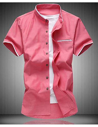 Pánské Jednobarevné Obchod Denní Jednoduchý Košile Léto Bavlna Polyester Stojáček Krátký rukáv