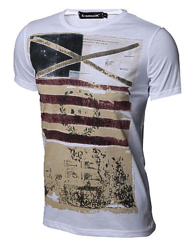 Homens Camiseta Vintage Retro Estampado Algodão Decote Redondo