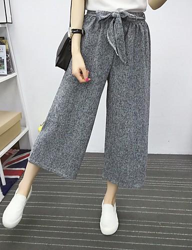 Dámské Jednoduchý Kalhoty chinos Kalhoty Rovné Široké nohavice High Rise