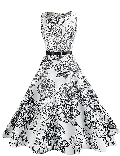 Mulheres Vintage Algodão Bainha / balanço Vestido - Estilo vintage, Floral Altura dos Joelhos