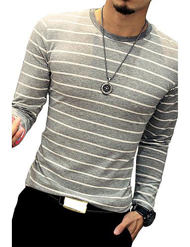 Pánské - Proužky Větší velikosti Tričko Bavlna Kulatý