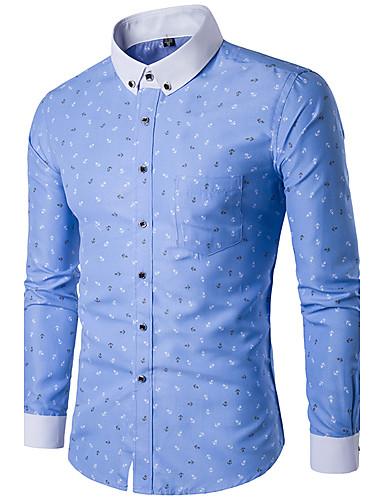 abordables $15-$20-Hombre Estampado - Algodón Camisa, Cuello Americano Delgado Geométrico Blanco XXXL / Manga Larga / Primavera / Otoño