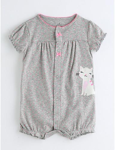 Baby Mädchen Einzelteil Baumwolle Sommer Kurzarm Grau