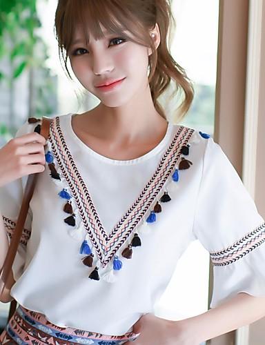 Damen Geometrisch Street Schick Ausgehen T-shirt,Rundhalsausschnitt Frühling ½ Länge Ärmel Polyester Mittel